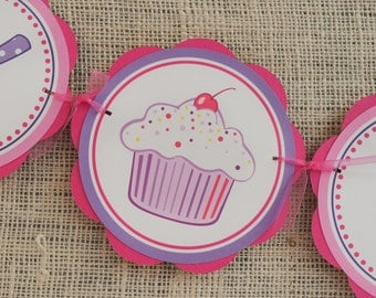 Girl Birthday Party Decorations - Cupcake HAPPY BIRTHDAY Banner - Cupcake Birthday Party Decorations - Cupcake Banner in Hot Pink and Purple