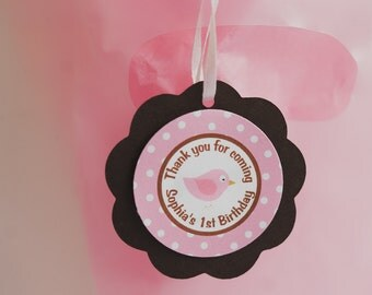 Little Birdie Favor Tags - Happy Birthday Party Decorations - Girl Birthday Party Thank You Tags in Pink and Brown