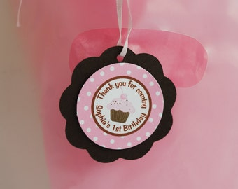 Cupcake Favor Tags  - Cupcake Theme Happy Birthday Party Decorations in Pink and Brown