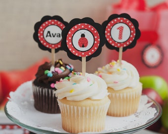 Ladybug Birthday Decorations - Ladybug Cupcake Toppers - Ladybug Theme Birthday Decorations - Ladybug Party Decorations in Red and Black