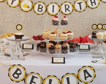 Bee HAPPY BIRTHDAY Banner - Bee Birthday Party Decorations, Bee Birthday Banner