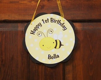 Bee Themed Happy Birthday Party Sign Door Hanger in Yellow and Black - Happy Bee Day Party Decorations