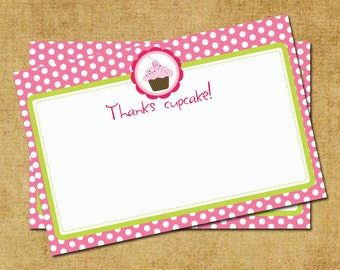 Cupcake Thank You Note - Hot Pink & Green Cupcake Thank You Card - Digital Printable Thank You