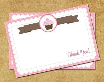 Cupcake Thank You Note - Pink & Brown Cupcake Thank You Card - Digital Printable Thank You