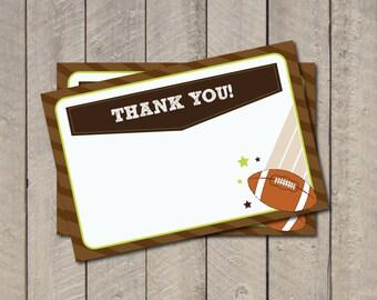 Football Thank You Note - Lil Quarterback Theme Thank You Card - Digital Printable Thank You
