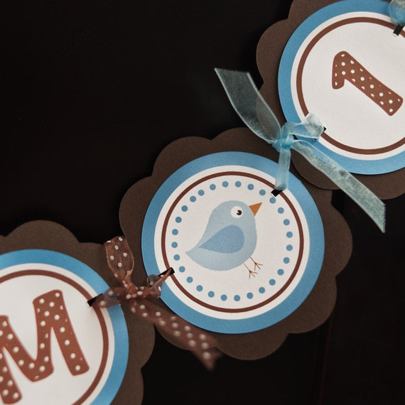 Little Birdie Themed I AM 1 MINI BANNER, High Chair First Birthday Party Decoration