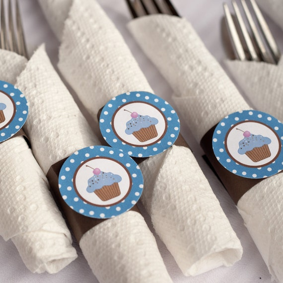 Napkin Rings - Cupcake Theme - Happy Birthday Party and Baby Shower Decorations in blue and brown (12)