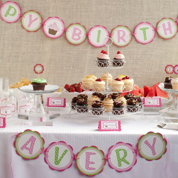 Cupcake Birthday Banner - HAPPY BIRTHDAY Banner