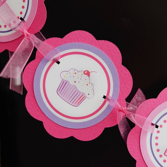 Cupcake Birthday Party Decorations - I am 1 MINI BANNER - Cupcake Theme Hot Pink and Purple, First Birthday Party