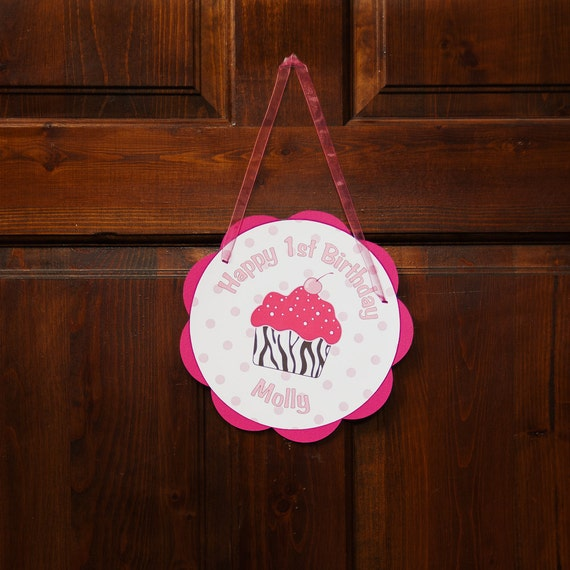 Cupcake Door Sign - Happy Birthday Party Decoration - Hot Pink Zebra Cupcake Theme