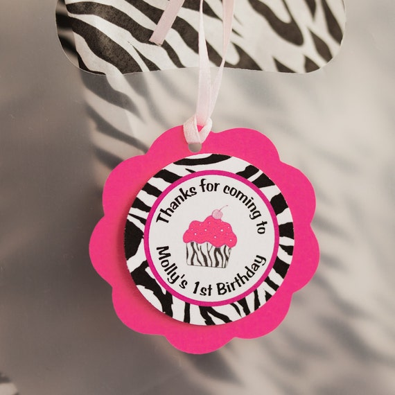 Cupcake Hot Pink and Zebra Favor Tags - Cupcake Theme Happy Birthday Party Decorations
