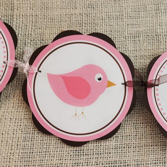 Little Birdie Theme HAPPY BIRTHDAY Banner - Birdie Birthday Party Decorations in Pink and Brown