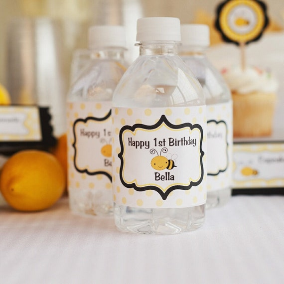 Water Bottle Labels - Birthday Party Decorations - Yellow & Black Bee Theme (12)
