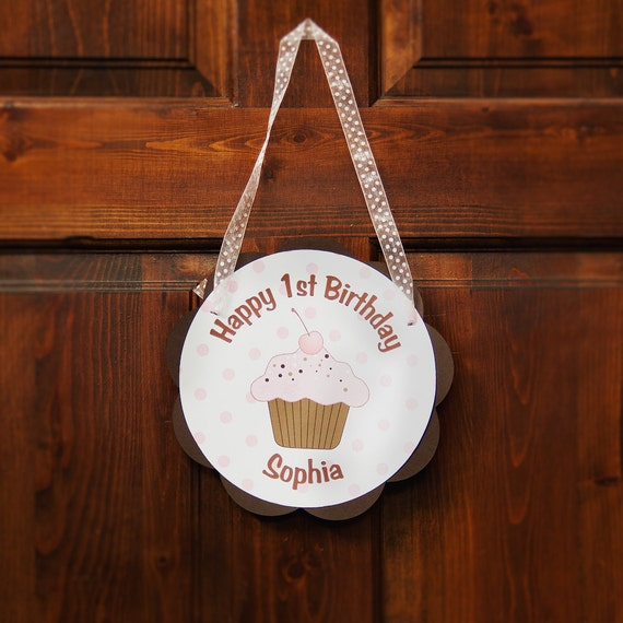 Cupcake Theme Birthday Party Door Hanger - Happy Birthday Party Decorations in Pink & Brown