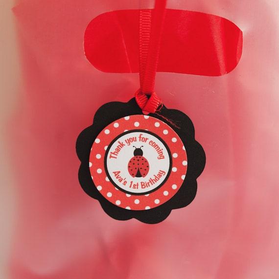 Ladybug Theme Happy Birthday Party Favor Tags - Kids Ladybug Birthday Party Decorations in Red & Black