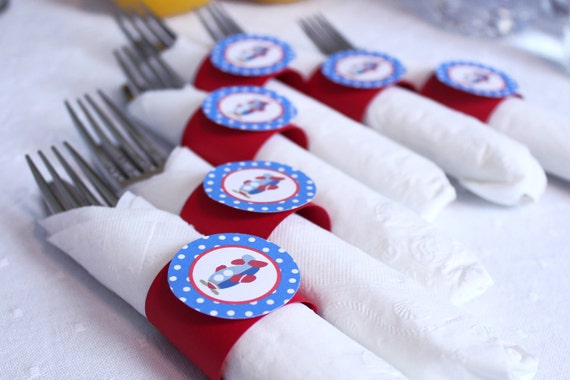 Airplane Theme Birthday Party - Napkin Rings - Silverware Wraps - Party Decorations - Baby Shower Decorations in Red & Blue (12)