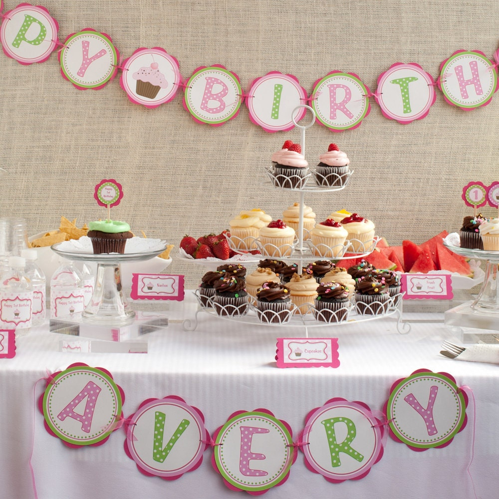 Cupcake Birthday Banner HAPPY BIRTHDAY Banner