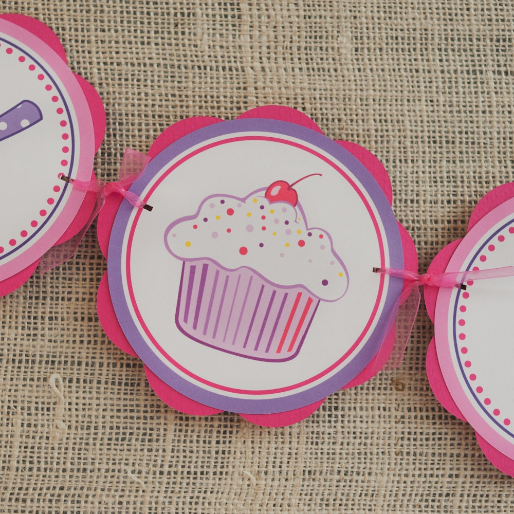 girl birthday party decorations cupcake happy birthday banner