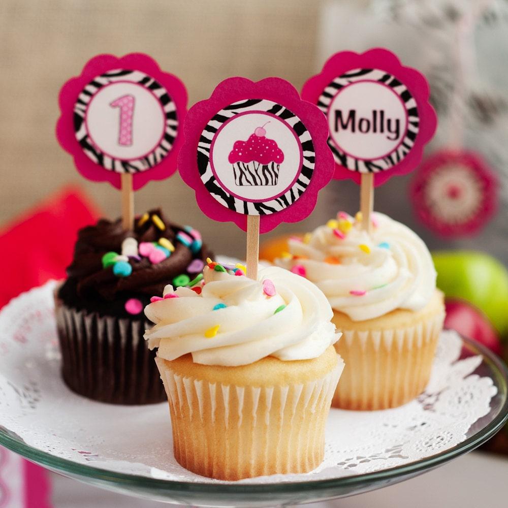 Zebra HAPPY BIRTHDAY Banner Pink Zebra Cupcake Theme