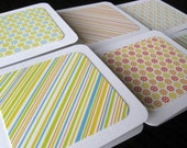 SALE - Set of 6 Mini Cards with Envelopes - Citrus Glitter Stripes and Flowers