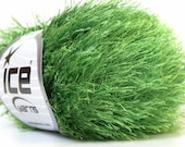 jungle green eyelash yarn bulky chunky 50gr polyester ice yarns usa light blue fancy fur craft rug 1 skein ships from usa at usps cost 22787