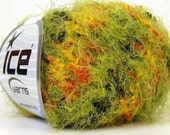 super soft multicolor techno grass novelty eyelash blend yarn black green orange yellow knitting crochet supplies  ice yarns techno 23717