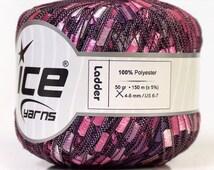 ice ladder ribbon yarn trellis purple lilac pink shades of purple black 1 skein knitting crochet daily bulky chunky