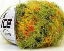 super soft multicolor techno grass novelty eyelash blend yarn black green orange yellow knitting crochet supplies  ice yarns techno 23717