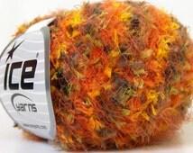 multicolor techno grass novelty eyelash blend yarn Black Green Orange Yellow bulky craft knitting crochet supplies  ice yarns 23718