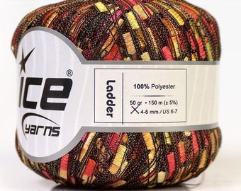 ice yarns ladder ribbon trellis yarn gold red yellow orange mix black multicolor 1 skein ships from usa ready to ship 42718