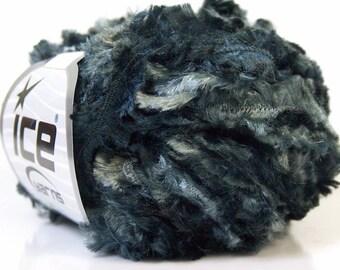 superbulky novelty yarn black grey gray shades ribbon eyelash type roving bulky polyester 50 gr ice yarns ephesus novelty yarn 20909