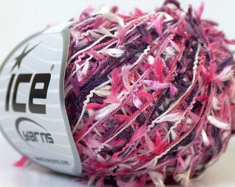 ice yarns grass pink purple white novelty yarn eyelash ribbon type 3 light DK worsted polyester grass made in turkey ships from usa