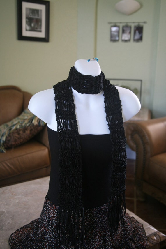black handknit ribbon scarf long belt textured gift idea for women christmas birthday mother's day  free shipping