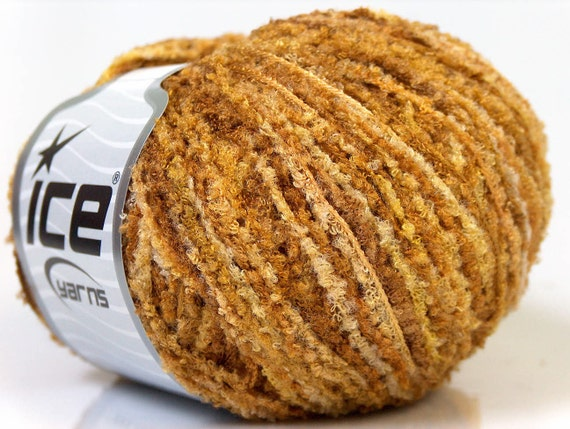 metallic short eyelash lurex Spring yarn camel Brown Shades ice yarns polyester chunky bulky craft rug yarn us 13 etsy turkishmarket 20884