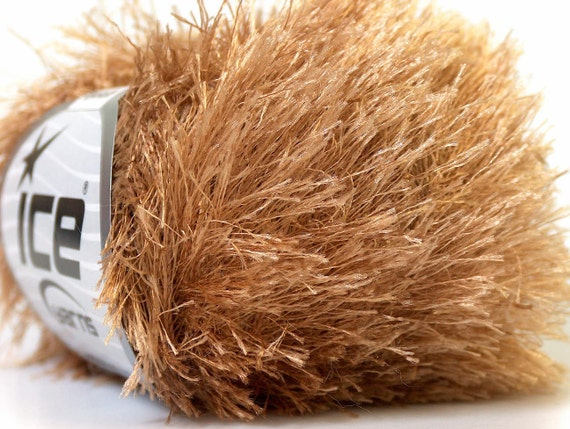 brown camel eyelash yarn bulky chunky 50gr polyester ice yarns usa ...