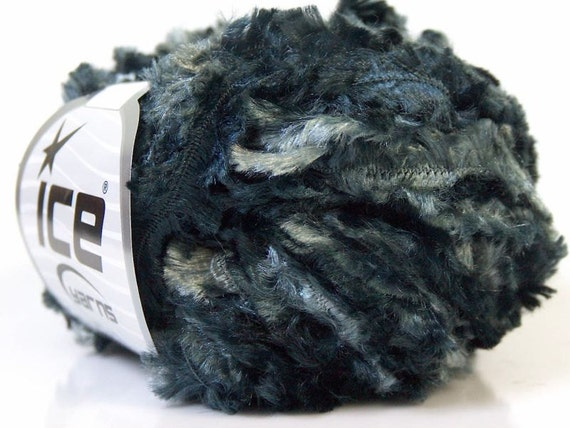superbulky novelty yarn black grey gray shades ribbon eyelash type roving bulky polyester 50 gr ice yarns ephesus novelty yarn 20909