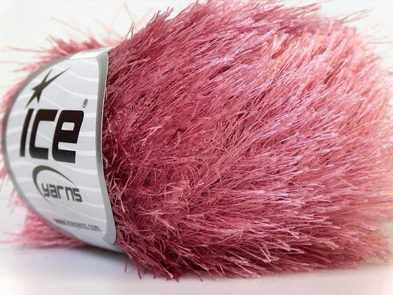 rose pink eyelash yarn novelty ice yarns polyester 50 gr 1 skein super ...