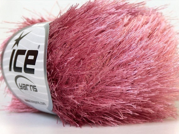 Eyelash Yarn : rose pink eyelash yarn novelty ice yarns polyester 50 gr 1 skein super ...