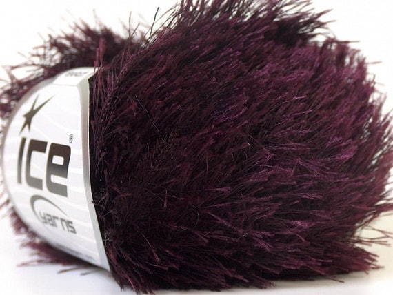 Eyelash Yarn : dark maroon eyelash yarn bulky chunky 50gr polyester ice yarns novelty ...