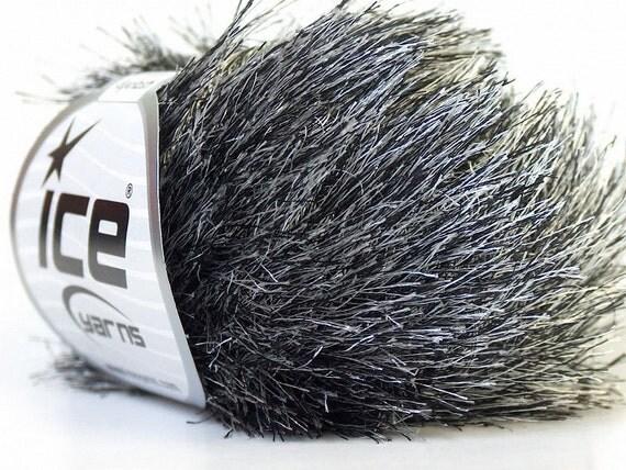 Eyelash Yarn : eyelash yarn black white 50 gr polyester BULKY chunky knitting crochet ...