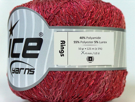 rose pink burgundy rings yarn ice yarns rings summer turkey ships from usa polyester 1 skein 50 gr  DK light worsted knitting crochet