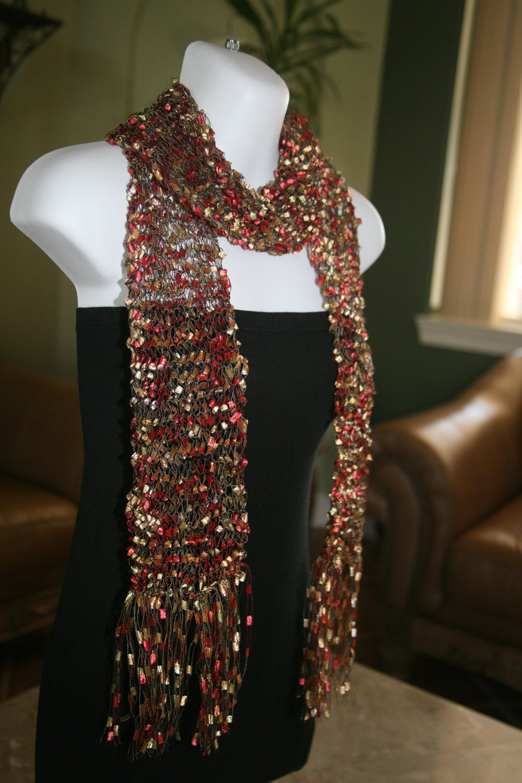 Ribbon Scarf Handmade Handknit Trellis Scarves By Yarniness