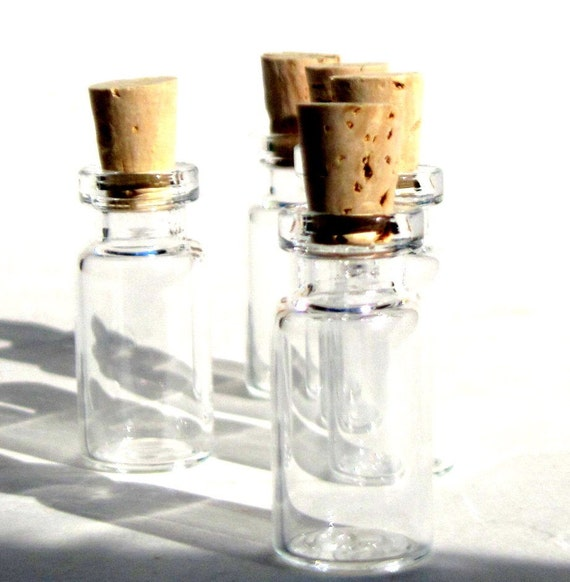 10 Clear Glass Bottles with Real Cork Stopper - small vials or jars for crafts, pendants