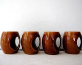 Set Of 4 Brown Ceramic Hoffritz Signed Mugs (FEATURED on the FRONT PAGE of Etsy)