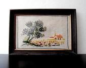 Vintage Framed Stitched Landscape Needlepoint 1950s