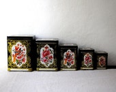 Set Of 5 Vintage Black Peacock Square Kitchen Metal Tin Canisters