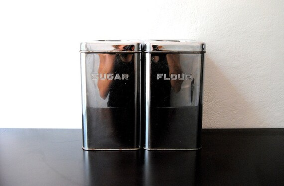 Pair Of Vintage Metal Chrome Storage Canisters With Lids