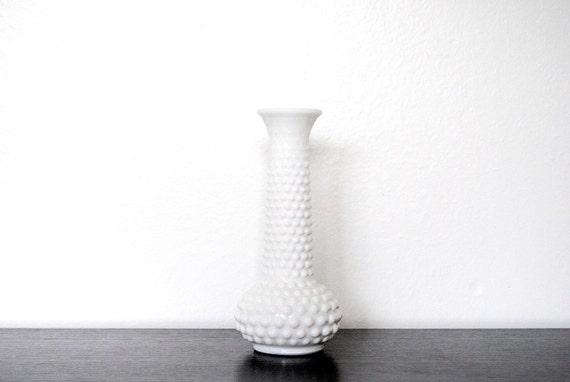 EO Brody Company White Milk Glass Hobnail Vase