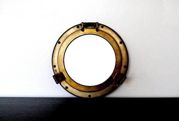 Round Brass Porthole Mirror