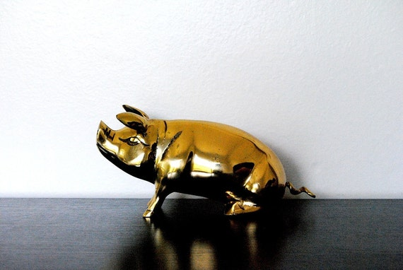 Large Brass Pig Bank
